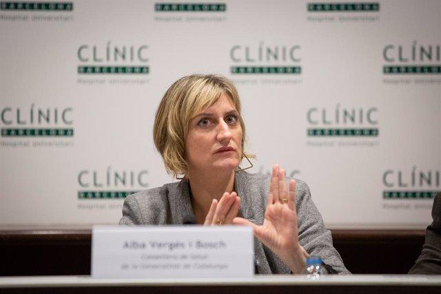 La consellera de Sanitat de Catalunya, Alba Vergés, en una compareixença per abordar l'evolució del coronavirus, a l'Hospital Clínic de Barcelona/Catalunya (Espanya), 12 de febrer del 2020.