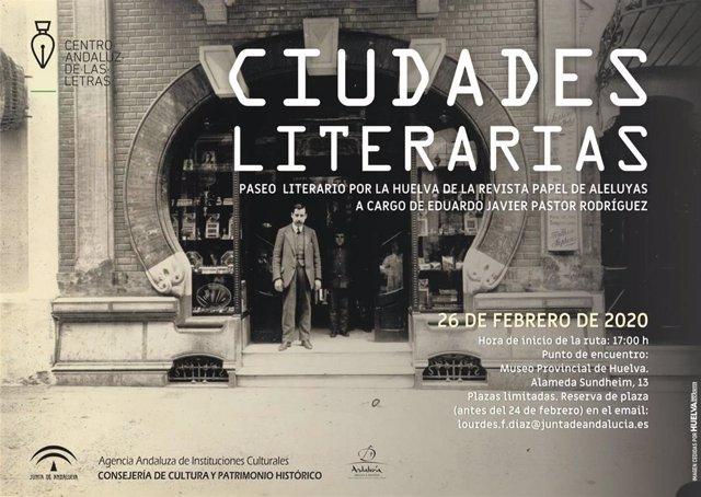 Cartel del paseo literario por la Huelva de la revista 'Papel de Aleluyas'.