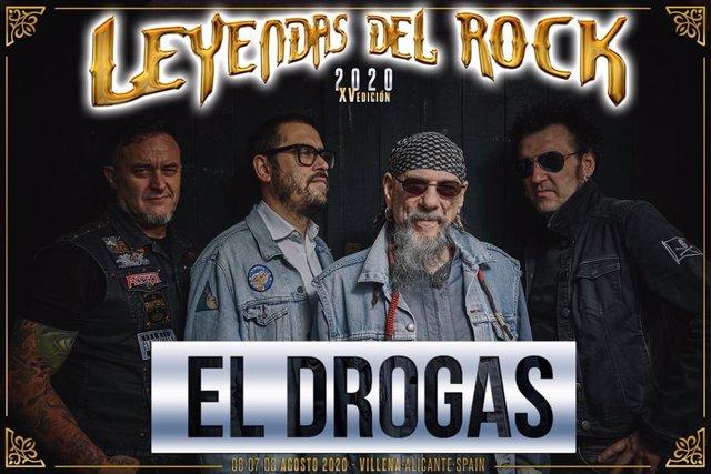 Cartel de El Drogas en Leyendas del Rock, en Villena.