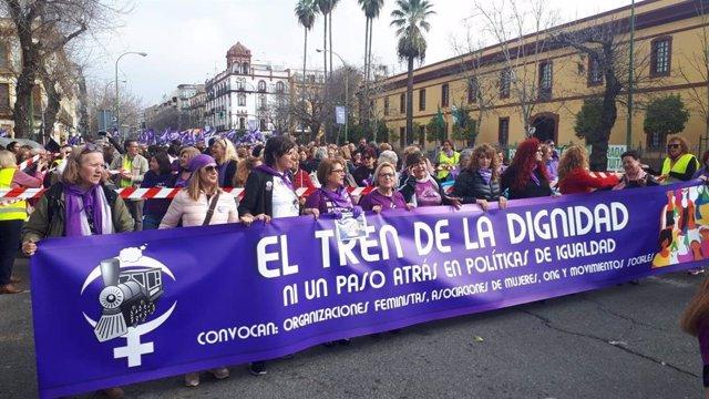 Manifestación del 'Tren de la Dignidad' en Sevilla.