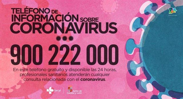 Teléfono de información sobre coronavirus dispuesto por la Consejería de Sanidad de Castilla y León al que recomienda llamar antes de acudir a un centro sanitario.
