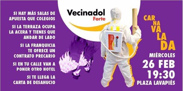 Una 'carnavalada' repartirá este miércoles 'Vecinadol Forte' para exigir el fin de la especulación con la vivienda en Madrid