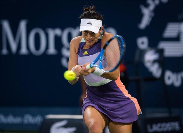 La tenista española Garbiñe Muguruza en el torneo de Doha