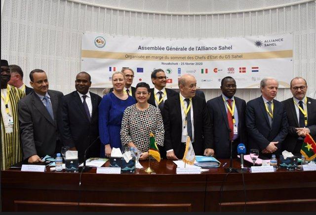 La ministra de Asuntos Exteriores, UE y Cooperación, Arancha González Laya, durante la I Asamblea General de la Alianza Sahel