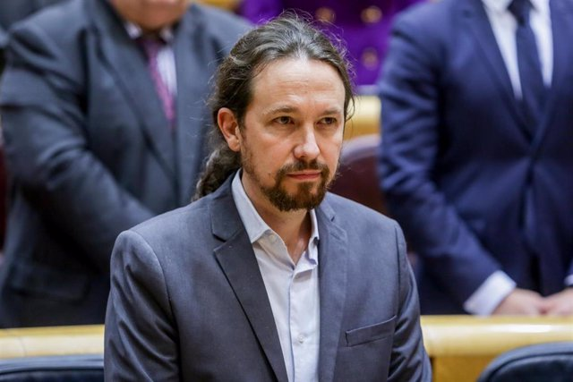 El vicepresidente segundo de Derechos Sociales y Agenda 2030, Pablo Iglesias, durante la sesión de control al Gobierno en el Senado en Madrid el 25 de febrero de 2020