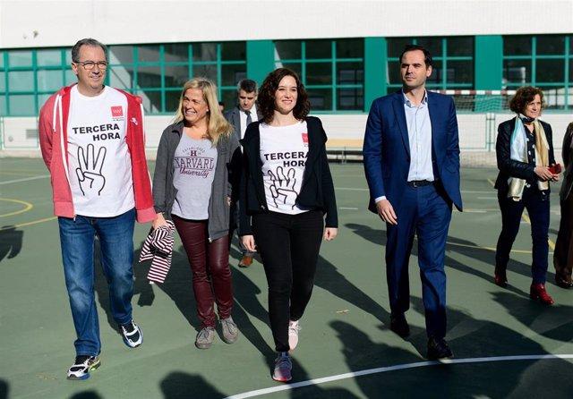 Imagen de recurso de la presidenta de la Comunidad de Madrid, Isabel Díaz Ayuso, el vicepresidente regional, Ignacio Aguado, y el consejero de Educación y Juventud, Enrique Ossorio.