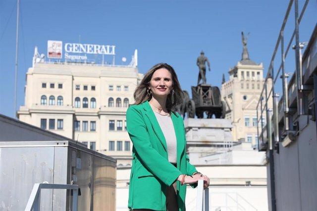 La consejera de Medio Ambiente de la Comunidad de Madrid, Paloma Martín posa antes de su entrevista con Europa Press en la azotea de la Consejería, en Madrid (España), a 20 de febrero de 2020.
