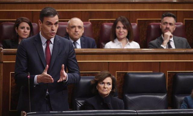 El president del Govern central, Pedro Sánchez, al Congrés dels Diputats, Madrid, 26 de febrer del 2020.