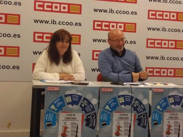 El secretario general de CCOO en Baleares, José Luis García, y la secretaria de Ocupación, Yolanda Calvo, en la rueda de prensa.