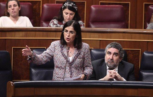 La ministra de Política Territorial, Carolina Darias, en el Congreso.