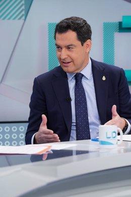 Juanma Moreno, aquest dimecres dia 26 de febrer en una entrevista a TVE.