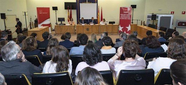 Los consejeros de Justicia y Políticas Sociales de la Comunidad de Madrid, Enrique López y Alberto Reyero, respectivamente, participan en una Jornada de Atención a la Infancia