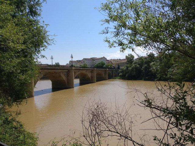 Puente de piedra sobre el río Ebro en Logroño