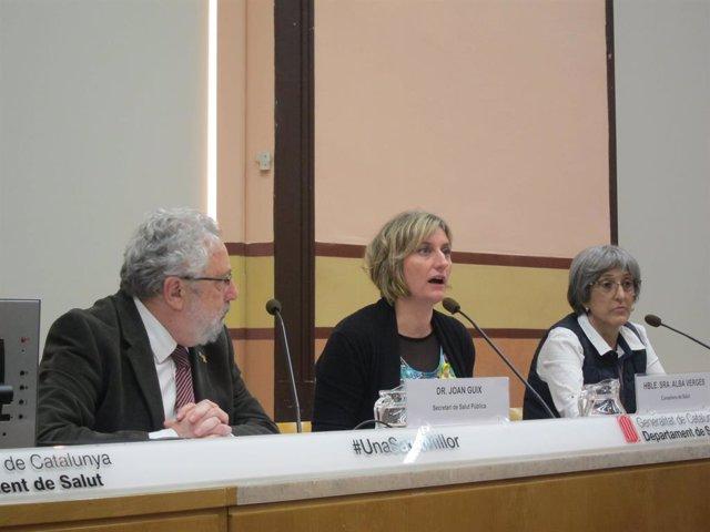 El secretari Joan Guix, la consellera Alba Vergés i Assumpta Ricart (CatSalut)