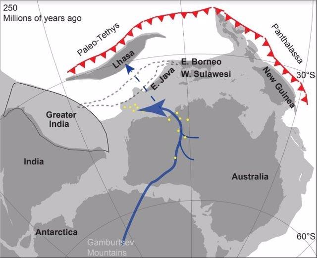 Figura que representa la configuración del supercontinente de Gondwana (hace 250 millones de años) y la ubicación del antiguo sistema fluvial