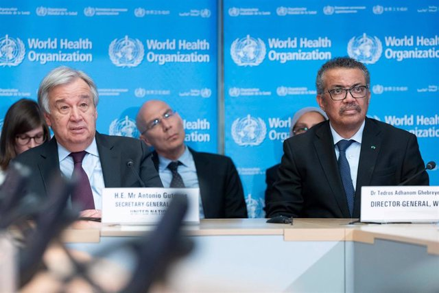 HANDOUT - 24 February 2020, Switzerland, Geneva: UN Secretary-General Antonio Guterres (L) meets with Director General of the World Health Organization (WHO) Tedros Adhanom Ghebreyesus. Photo: Jean Marc Ferre/UN Geneva/dpa - ATTENTION: editorial use only