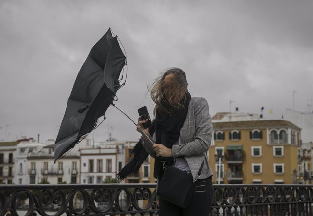 Ratxa de vent, vent, paraigua, pluja, temporal (recurs)