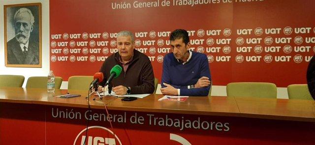 El secretario general de UGT Huelva, Sebastián Donaire, y el secretario general de UPA Huelva, Manuel Piedra