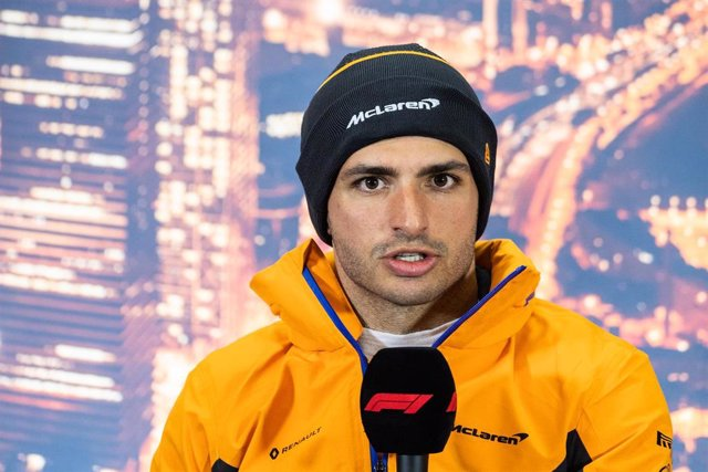 26 February 2020 Circuit de Barcelona Catalunya Formula One test 2; Carlos Sainz of McLaren  during the FIA official press conference during the winter test round 3 at circuit de Barcelona Catalunya
