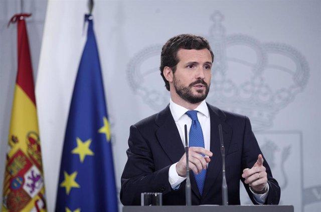 El presidente del PP, Pablo Casado, en rueda de prensa tras su reunión con el presidente del Gobierno, Pedro Sánchez, en Madrid (España), a 17 de febrero de 2020.
