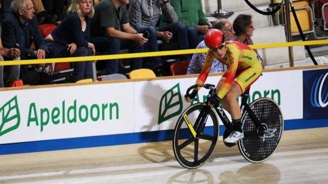 Ana Usabiaga, en el Mundial de ciclismo en pista.