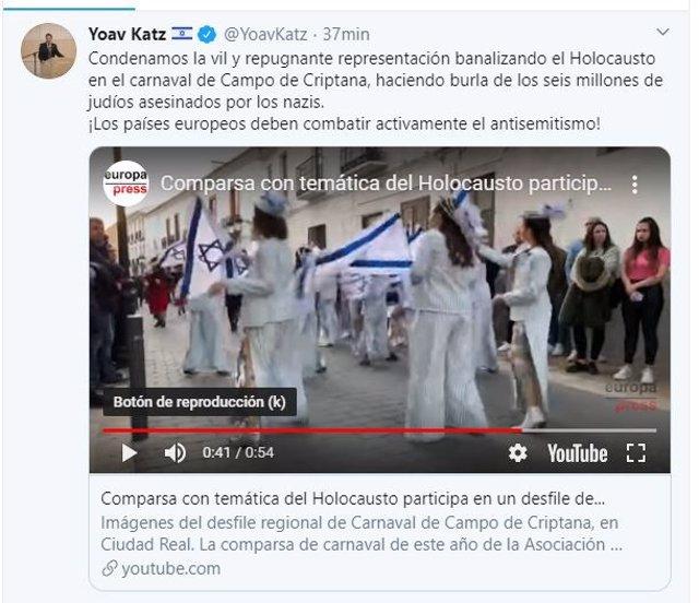 """El portavoz de la Embajada de Israel denuncia la """"repugnante banalización"""" del Holocausto en el carnaval de Campo de Criptana (Ciudada Real)"""