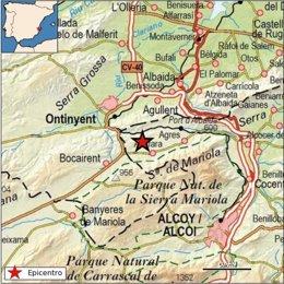 La localidad de Alfafara registra un seísmo de magnitud 2,7