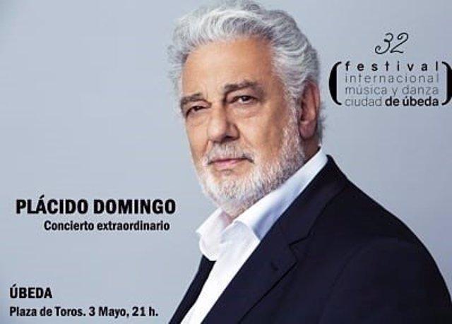Cartel del concierto que Plácido Domingo iba a ofrecer el 3 demayo en la plaza de toros de Úbeda