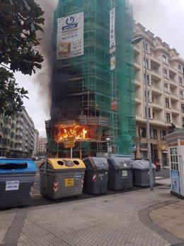 Incendio en la calle Secundino Esnaola de San Sebastián