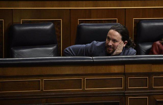 El vicepresidente del Gobierno de Derechos Sociales y Agenda 2030, Pablo Iglesias, en el Pleno del Congreso