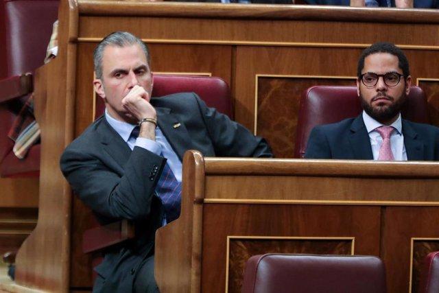 El secretario general de Vox y diputado Javier Ortega-Smith, en el hemiciclo del Congreso
