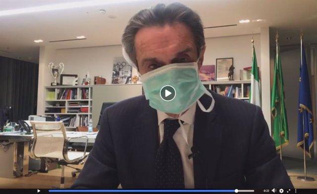 El presidente de Lombardía, Attilio Fontana, anunciando en un vídeo de Facebook que se pone en cuarentena