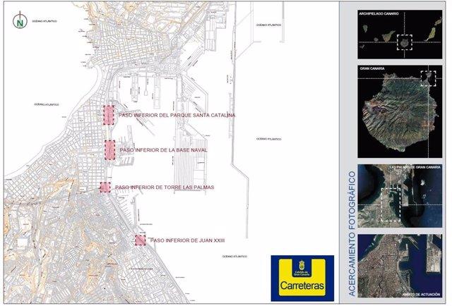El Cabildo de Gran Canaria reparará en marzo cuatro pasos inferiores en la Avenida Marítima