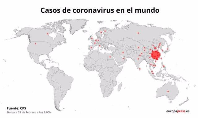 Mapa con casos de coronavirus por países
