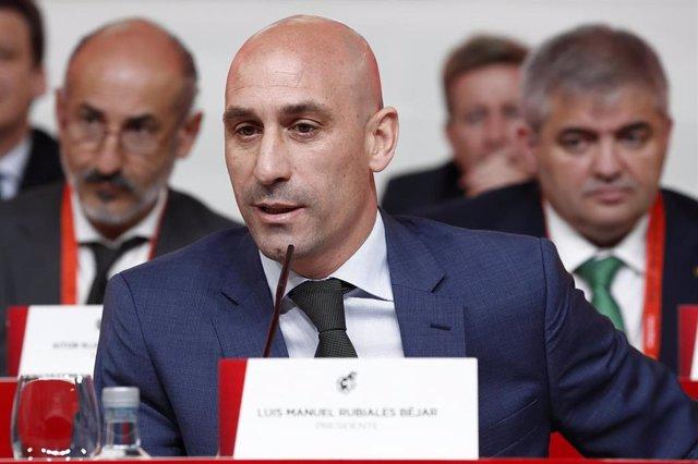 Luis Rubiales, presidente de la RFEF, en la Asamblea General de junio de 2019 en la Ciudad del Fútbol