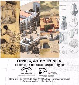 Cartel de la exposición 'Ciencia, Arte y Técnica. Exposición de dibujo arqueológico'.