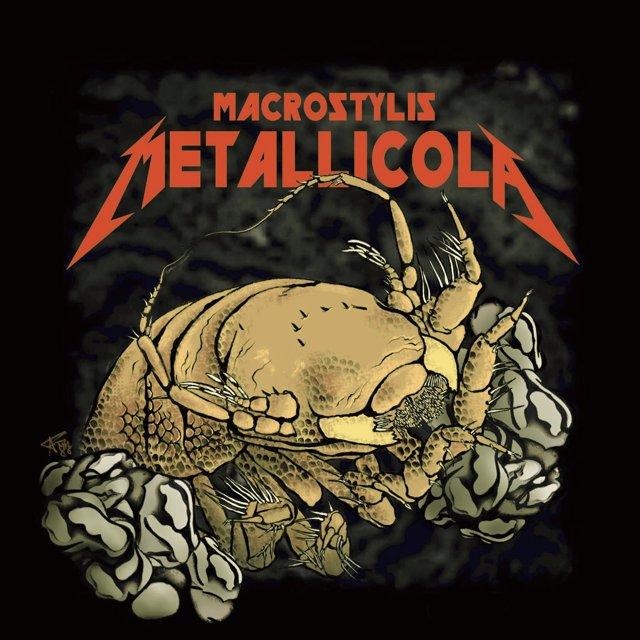 El crustáceo de Metallica Macrostylis metallicola recreado artísticamente