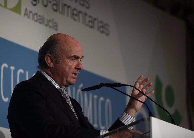 El vicepresidente del BCE, Luis de Guindos, en la clausura del I Foro del Cooperaticismo Agrario