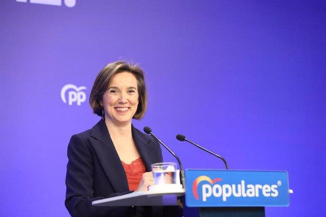 La vicesecretaria de Política Social del Partido Popular, Cuca Gamarra, en rueda de prensa tras la reunión del Comité de Dirección del PP, en Madrid (España), a 10 de febrero de 2020.