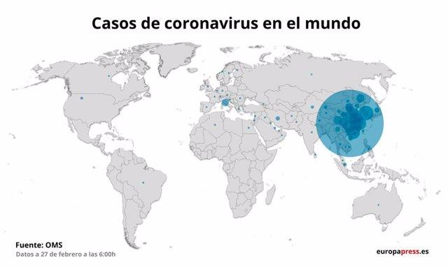 Casos de coronavirus al món el 27 de febrer a les 6:00.