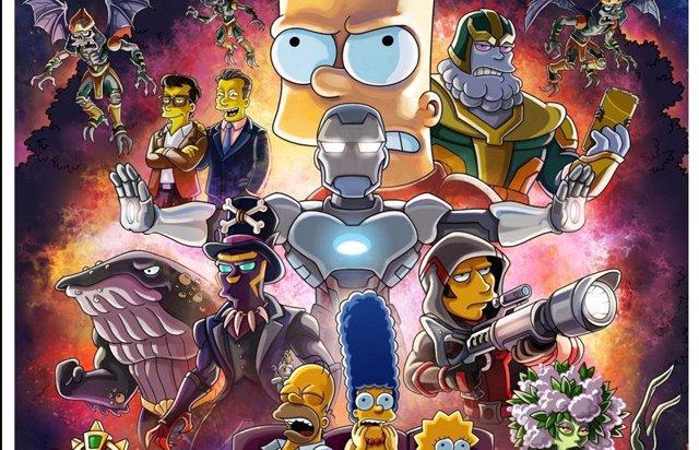 Cartel de Los Simpson al estilo Vengadores: Endgame