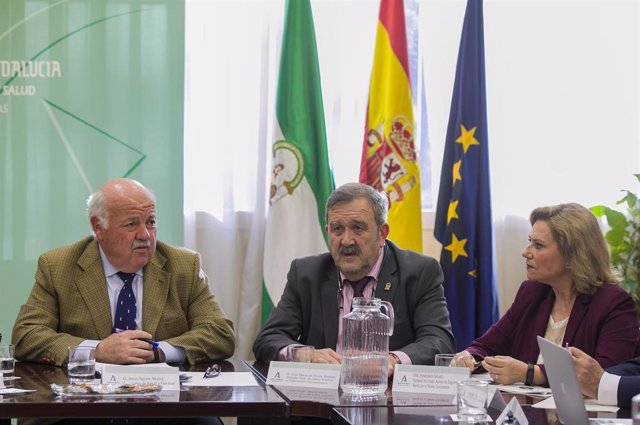 El consejero de Salud y Familias, Jesús Aguirre (d), en una imagen de archivo de la reunión del comité asesor sobre el coronavirus