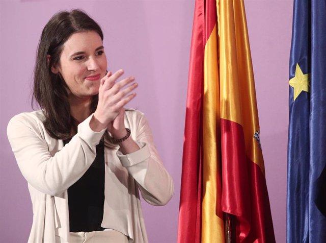 La ministra de Igualdad, Irene Montero, durante el acto de toma de posesión de altos cargos del Ministerio de Igualdad, en Madrid (España), a 31 de enero de 2020.
