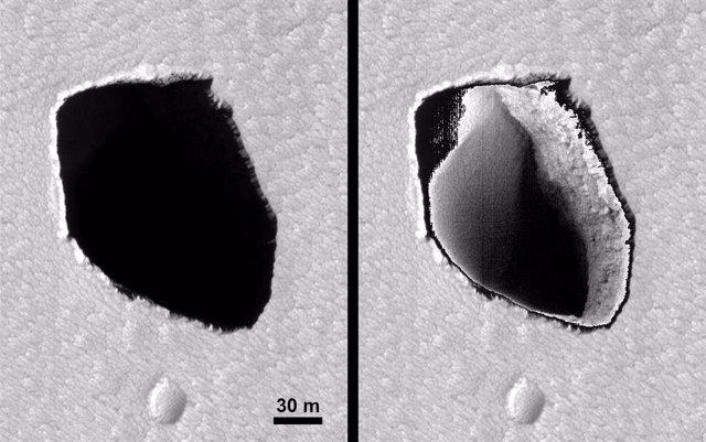 Pozo oscuro iluminado en Marte