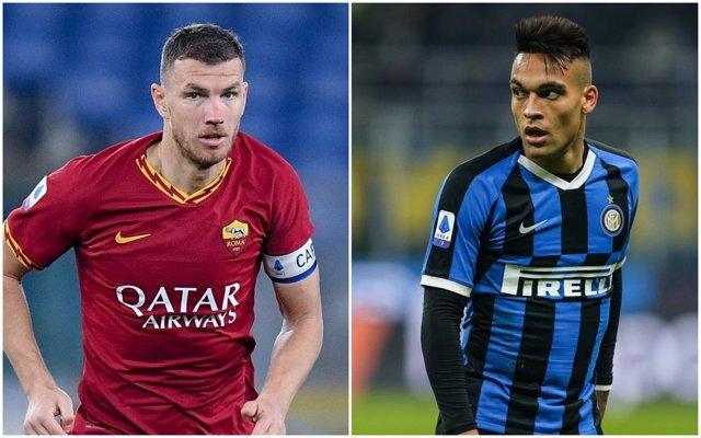 Dzeko (Roma) y Lautaro (Inter)