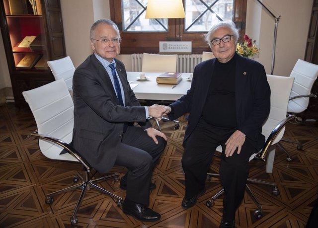 El rector de la UB Joan Elias i el ministre Manuel Castells.