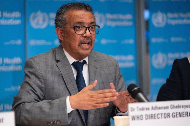 El director general de l'Organització Mundial de la Salut (OMS), Tedros Adhanom Ghebreyesus, durant la roda de premsa diària sobre el coronavirus Covid-19. 21 de febrer de 2020.