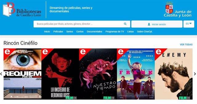 Imagen del servicio de CineCyL, que permite el acceso a contenidos audiovisuales en 'streaming' a los usuarios de bibliotecas públicas.
