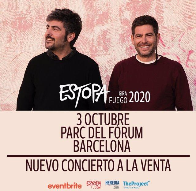 Estopa acomiadar la seva gira 'Fuego' en un únic concert al Frum el 3 d'octubre.