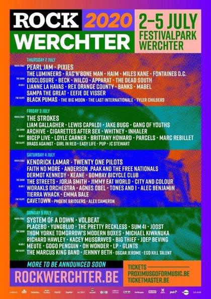 El cartel del festival de Werchter es un desfase: Pearl Jam, Kendrick Lamar, System of a Down, The Strokes...